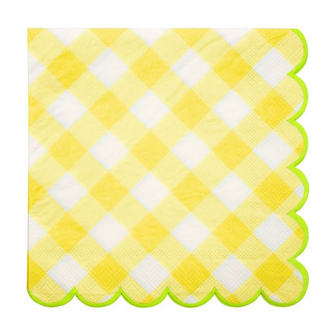 Yellow Gingham Paper Napkins - Large